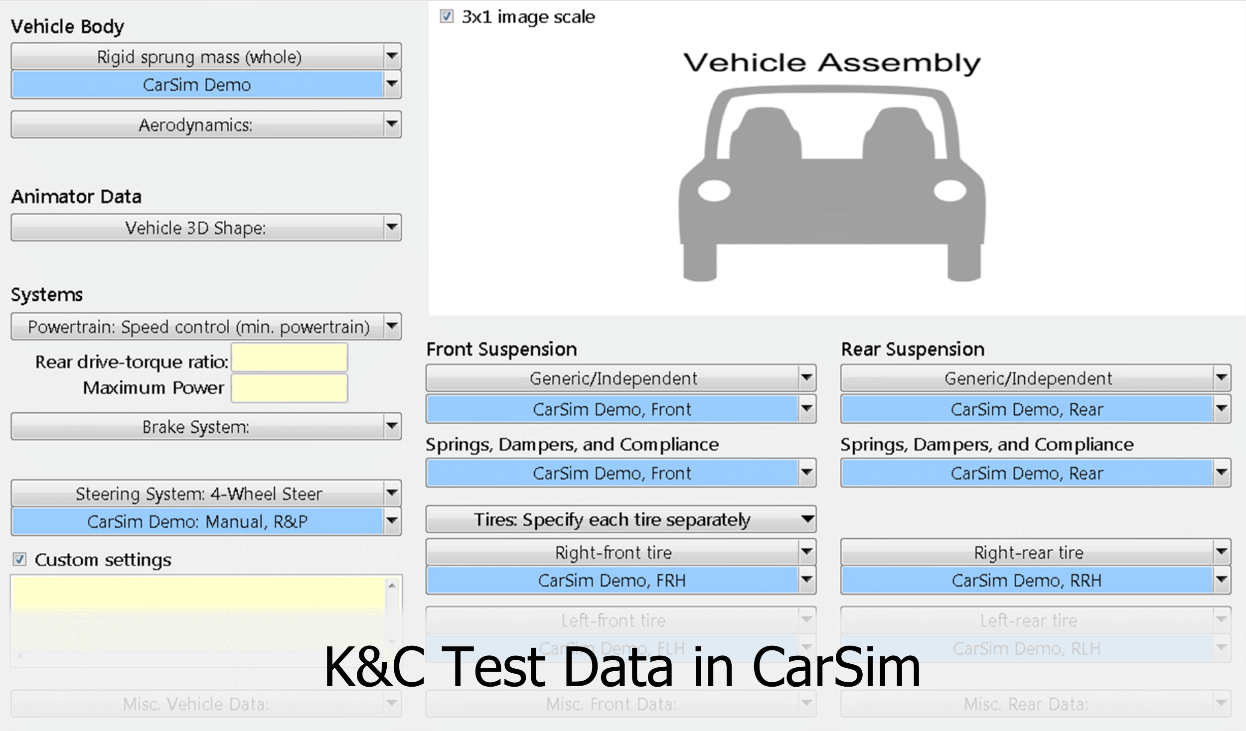 K&C data in CarSim through Parsfile